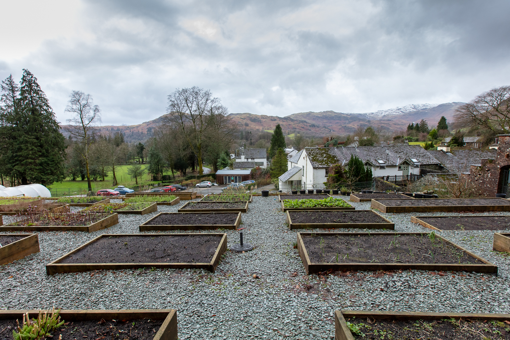 kitchen garden raised plant beds at the forest side grasmere